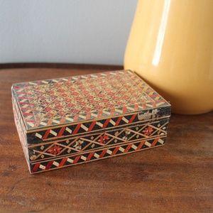 vintage 1960s hand made wood trinket box